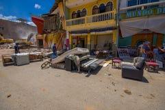 Portoviejo Ekwador, Kwiecień, -, 18, 2016: Budować pokazywać aftereffect 7 8 trzęsienie ziemi który niszczył centrum miasta Obraz Stock
