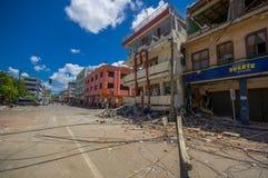 Portoviejo Ekwador, Kwiecień, -, 18, 2016: Budować pokazywać aftereffect 7 8 trzęsienie ziemi który niszczył centrum miasta Zdjęcie Stock