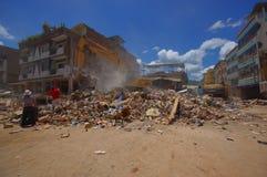Portoviejo Ekwador, Kwiecień, -, 18, 2016: Budować pokazywać aftereffect 7 8 trzęsienie ziemi który niszczył centrum miasta Fotografia Royalty Free
