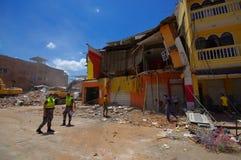 Portoviejo Ekwador, Kwiecień, -, 18, 2016: Budować pokazywać aftereffect 7 8 trzęsienie ziemi który niszczył centrum miasta Zdjęcie Royalty Free
