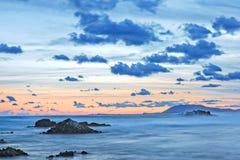 Portowa Macquarie plaża przy zmierzchem Fotografia Royalty Free
