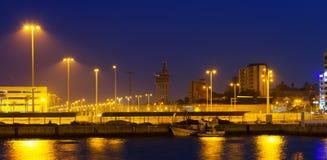 Portowa strona Algeciras w nocy Fotografia Royalty Free