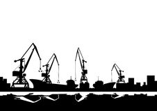 Portowi żurawie i statki Fotografia Royalty Free