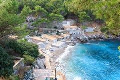 Portowy de Sa Calobra i morze śródziemnomorskie, Majorca Zdjęcie Royalty Free