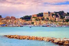 Portowy grodzki Soller na zmierzchu, Mallorca, Hiszpania Zdjęcie Stock