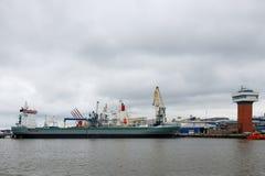 Portowy krajobraz Widok przemysłowy port obrazy royalty free