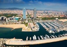Portowy Olimpic od helikopteru Barcelona Zdjęcie Royalty Free