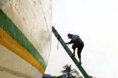 Portowy pracownik w jego aktywności Fotografia Stock