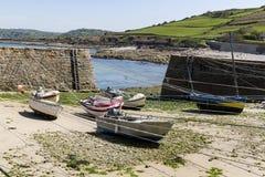 Portowy Racine jest małym portem Francja Cotentin penisula obrazy royalty free