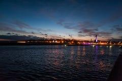 Portowy Ustka nocą, Polska Fotografia Stock