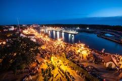 Portowy Ustka w nocy Fotografia Royalty Free