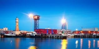 Portowy Vell w wieczór Barcelona Obraz Royalty Free