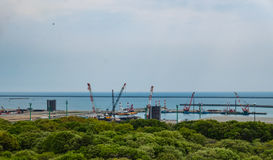 Portowy widok od Hitachi nadmorski parka Zdjęcie Stock