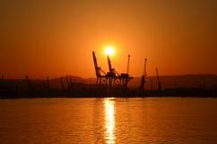 portowy zmierzch fotografia stock