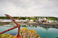 Portpatrick harbour and rusty anchor Royalty Free Stock Photos