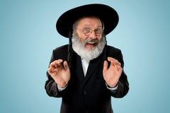 Porträt alten älteren orthodoxen jüdischen Mannes Hasdim lizenzfreie stockbilder