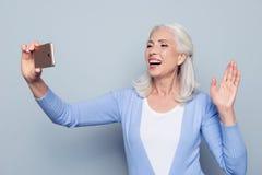 Porträt aufgeregten glücklichen netten herrlichen frohen reizend MAs Stockfotografie