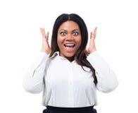 Porträt der überraschten afrikanischen Geschäftsfrau Stockbilder