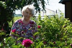 Porträt der alten lächelnden Frau im Park Stockfotografie