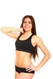 Porträt der jungen Frau des attraktiven Sports auf weißem Hintergrund Lizenzfreies Stockfoto