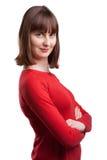 Porträt der attraktiven jungen Frau im Rot Stockfotos