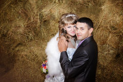 Porträt der Braut und des Bräutigams, die auf Heu am Stall umarmen Stockbild