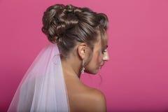 Porträt der Braut von der Rückseite Lizenzfreies Stockfoto