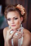 Porträt der durchdachten Braut Lizenzfreies Stockbild