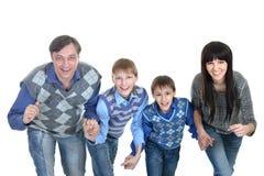 Porträt der europäischen vierköpfigen Familie stockfotos