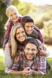 Porträt der Familie liegend auf Gras in der Landschaft Lizenzfreies Stockbild