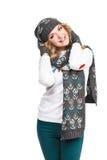 Porträt der Frau auf dem weißen Hintergrundtragen Lizenzfreie Stockfotografie