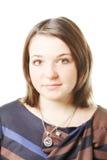 Porträt der Frau gegen Weiß lizenzfreie stockfotos