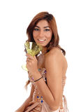 Porträt der Frau mit Champagnerglas Stockfotografie