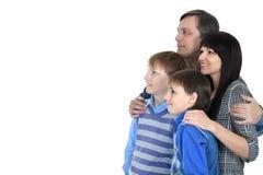 Porträt der freundlichen vierköpfiger Familie Stockbilder