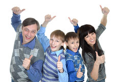 Porträt der freundlichen vierköpfiger Familie Lizenzfreies Stockfoto