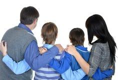 Porträt der freundlichen vierköpfiger Familie Lizenzfreie Stockfotos