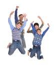 Porträt der frohen vierköpfiger Familie stockfotografie
