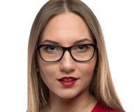 Porträt der Geschäftsfrau mit den roten Lippen Stockfoto