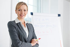 Porträt der Geschäftsfrau Standing By Flipchart Stockbilder