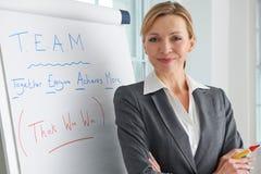 Porträt der Geschäftsfrau Standing By Flipchart Lizenzfreies Stockfoto