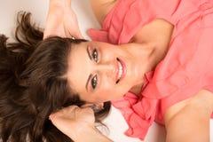 Porträt der glücklichen Frau Stockfotos