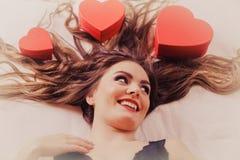 Porträt der glücklichen Frau Editable Abbildung Stockbild