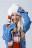 Porträt der glücklichen Frau am Winter stockfotografie