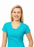 Porträt der glücklichen jungen Frau Stockfotografie
