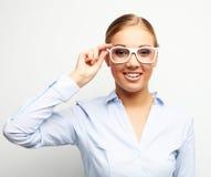 Porträt der glücklichen jungen Geschäftsfrau über weißem Hintergrund Lizenzfreies Stockfoto