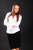 Porträt der glücklichen lächelnden Geschäftsfrau Stockfotografie