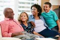 Porträt der Großeltern mit Enkelkindern lizenzfreies stockfoto