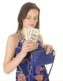 Porträt der jungen Frau der Schönheit mit der Handtasche lokalisiert Lizenzfreie Stockfotos