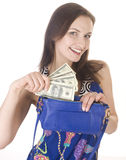 Porträt der jungen Frau der Schönheit mit der Handtasche lokalisiert Lizenzfreie Stockbilder
