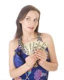 Porträt der jungen Frau der Schönheit mit der Handtasche lokalisiert Stockfotos